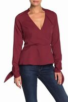 Line + Dot Womens Blouse Brick Red Size Medium M Surplice Tie-Cuffs $50 258