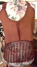 Crochet & Suede Aftershock Of London Top New Festival 70s Size 12 -14