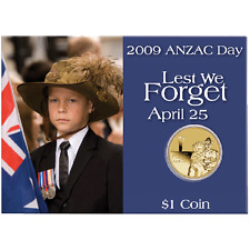 2009 $1 ANZAC Day Uncirculated Coin in Card FREE POST