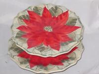Gibson Natural Poinsettia Accent Salad Plate Set of Two