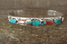 Zuni Indian Sterling Silver Turquoise Coral Snake Bracelet - Calavza
