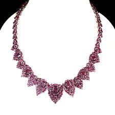Special Item Oval 11x7mm Top Red Pink Ruby 925 Sterling Silver Necklace 18.5inch