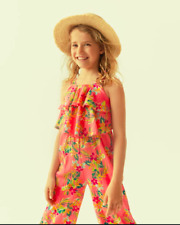 Zara Kids Girls Floral Jumpsuit Pink Ruffled Aplique 5 Years