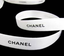 "100% Authentic White Chanel Black Lettering Gift Wrap Hairbows Ribbon 1/2""W"