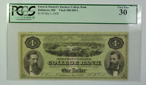 May 1 1878 $1 Dollar Obsolete Currency Eaton Burnett's Baltimore MD PCGS VF-30