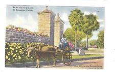 FL St Augustine Florida antique linen post card View of Old City Gates