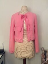 New Juicy Couture Women Pink Lemonade Rhinestone Embellished Blazer Jacket SZ XS