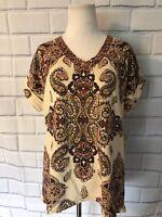 NWT Style & Co Short Sleeve Top Sz M Paisley Tan Cuffed Sleeve V Neck Earth $44