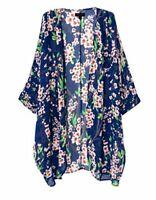 OLRAIN Women's Floral Print Sheer Loose Kimono Cardigan Capes