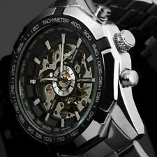 Luxury Men's Stainless Steel Analog Skeleton Automatic Mechanical Wrist Watch