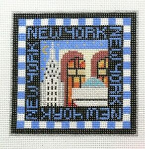 Amanda Lawford New York City NYC Travel Square Handpainted Needlepoint Canvas