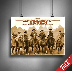 A3 or A4 Size * THE MAGNIFICENT SEVEN 1960 Movie Poster * Vintage Photo Print
