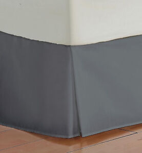 Gray Solid Bed Skirt Select Drop Length All US Size 1000 TC Egyptian Cotton