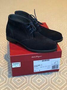 FERRAGAMO SACHIE 2-Blue Suede boots 8.5 NIB-$575 new