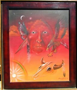 LISTED Everett Sanchez Native American Spirit Guide Large Older Oil Painting NR