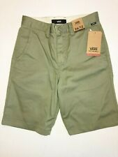 """Vans New Authentic Stretch 19"""" Shorts Boy's Size Youth 26/12 Oil Green"""