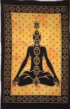 7 Chakra Yoga Buddha Mat Yellow Cotton HIppie Throw Small Tapestry Poster Art