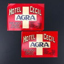 TRUE Vintage Hotel Cecil California Travel Luggage Label Lot of 2 Original