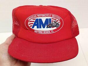 Vtg AMI AMERICAN MOTORCYCLE INSTITUTE DAYTONA BEACH FL 1971 RED BASEBALL CAP