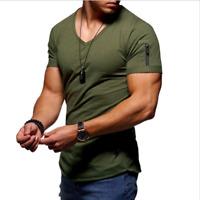 Herren Hemd Kurzarm T-Shirts V-Ausschnitt Tshirts Einfarbige Basic Tee Shirt
