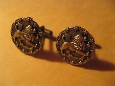 Zodiac Sign Horoscope Leo Lion July August Birthday Vintage Cufflinks Cuff Links