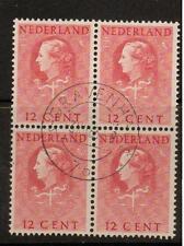 NETHERLANDS SGJ28 1951 12c RED BLOCK OF 4 FINE USED