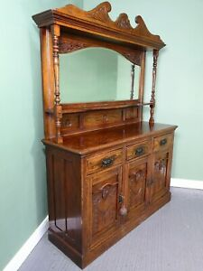 An Antique Solid Oak Mirror Back Dresser Sideboard  ~Delivery Available~