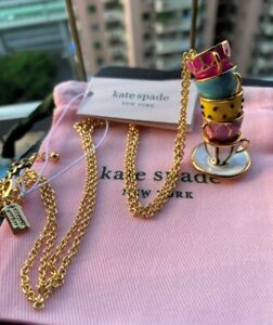Kate Spade New York  Pink TEA TIME CUPS PENDANT LONG NECKLACE
