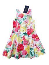 4b03ff2d5d Ralph Lauren Girls STUNNING Pink Multi Floral Dress 3y 4y 6y Cotton Sateen  4 Years