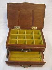 Small VINTAGE Wood JEWELRY CHEST Box~Hinged Lid + One Drawer~CENTURION
