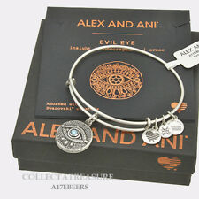 Authentic Alex and Ani Evil Eye Rafaelian Silver Expandable Charm Bangle