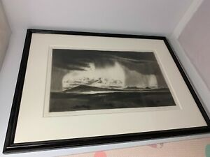 GENE KLOSS Framed Signed Drypoint Etching Rain Over Wide Lands Scarce