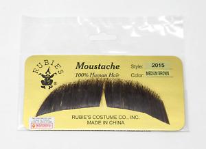 RUBIES HUMAN HAIR COSTUME MUSTACHE BROWN GREY BLONDE 2015 STYLE BASIC