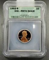 1992 S Lincoln Memorial Cent Penny Vintage ICG Case PR70 DCAM Deep Cameo Proof#2