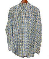 Peter Millar Mens Medium M Button Down Shirt 100% Cotton Plaid Brown Blue Green