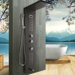 Black Bathroom Rain Shower Sprayer Panel Column Massage Jets Taps Wall Mount