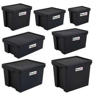 STRONG BAM HEAVY DUTY PLASTIC STORAGE BOX BOXES WITH LIDS RECYCLED UPCYCLED
