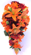 Wedding Bouquet Bridal Silk Flowers 17 piece package ORANGE LILY BURGUNDY Wine