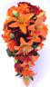 Wedding Bouquet Bridal Silk Flowers 17 piece package ORANGE LILY BURGUNDY Wine