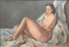 Superbe Nu Femme Tableau Ancien HsT 1930 Divan Portrait Art Déco Fauvisme Derain