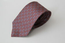 """Barry Of London Men's Geometric 100% Silk Red Blue Tie 3"""" Wide Made in USA EUC"""
