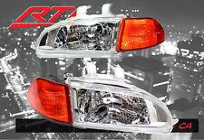 92-95 Honda Civic Glass Chrome Headlights + City Light SiR + Amber Corner 2/3