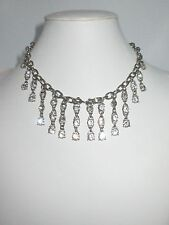 Rhinestone Shiny Silver Tone Chic Cookie Lee Dangle Statement Necklace Crystal