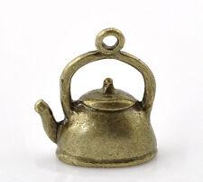4 Pc Antique Bronze Teapot Charm Pendants 19x16mm LC3154