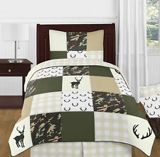 Green Beige Buffalo Plaid Check Woodland Camo Boy Twin Childrens Bedding Set