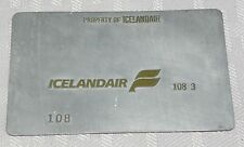 Rare Vintage Icelandair Metal Ticket Validation Plate Travel Agency