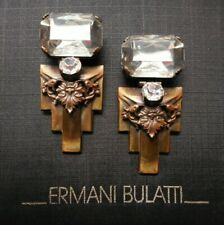 NEW Unsigned Ermani Bulatti Bronze Plated Art Deco CLIP Earrings w/Crystal
