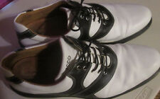 👞 ⛳ECCO GOLF SHOES Black/White SZ 48 Arch Support Vegetable Tanned Leather👞 ⛳