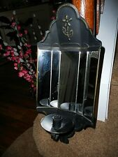 "Vtg Home Interior Metal Mirrored Wall Candle Sconce Flower Detail 17"" tall"