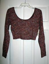 Billabong Womens M Burgundy Printed Off The Shoulder Crop Top Shirt NWT